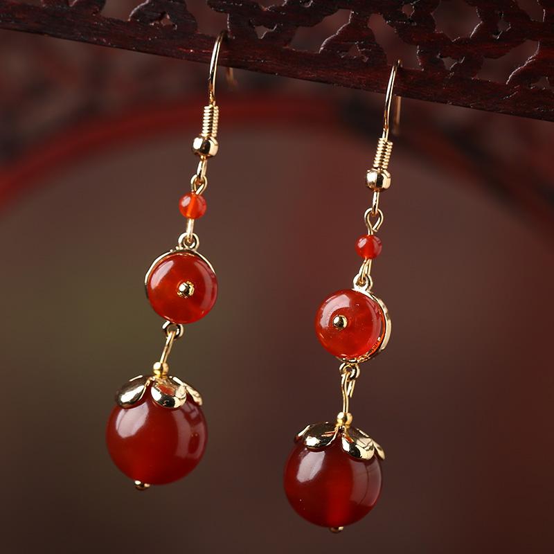 长款红玛瑙红色女搭配旗袍的潮耳坠