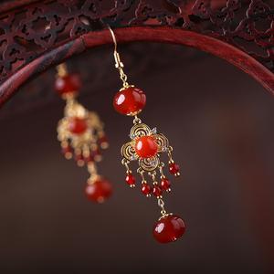 民族风夸张玛瑙耳坠复古超仙长款耳环流苏气质过年红色耳饰耳夹女