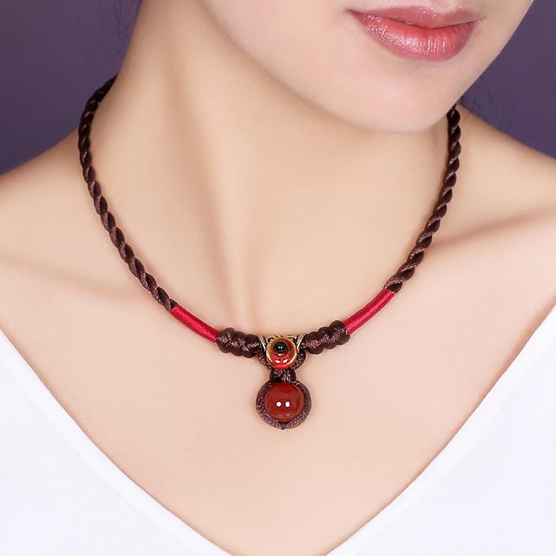 烟雨江南热卖短款锁骨项链民族风红玛瑙颈链简约复古装饰品女配饰
