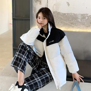 實拍羽絨服棉衣韓版外套女2021冬季新款寬松學生加厚棉襖立領