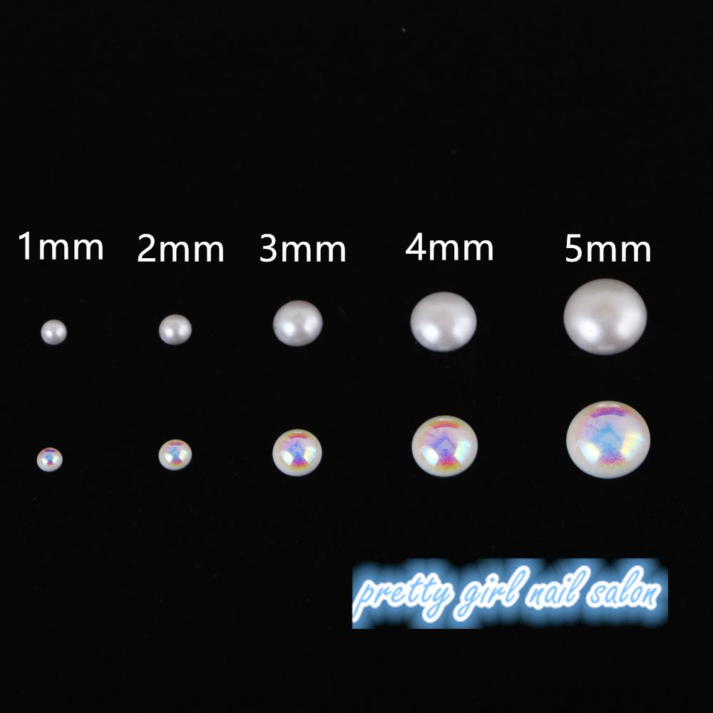 韩国进口 美甲平底半圆纯白 AB幻彩珍珠 高质感 不易掉色