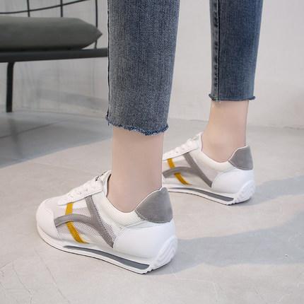 运动鞋女鞋2020新款夏季平底休闲镂空夏款网面透气网纱时尚小白鞋