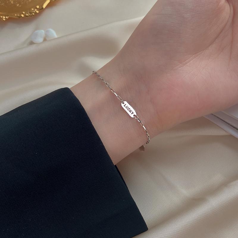 925纯银lucky幸运手链女学生2020新款ins小众设计轻奢高级感手饰