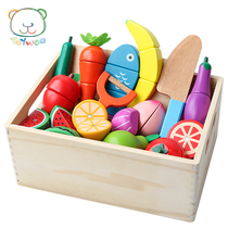 Childrens home wooden toys simulation fruit and vegetable kitchen cut le wood box male girl birthday present