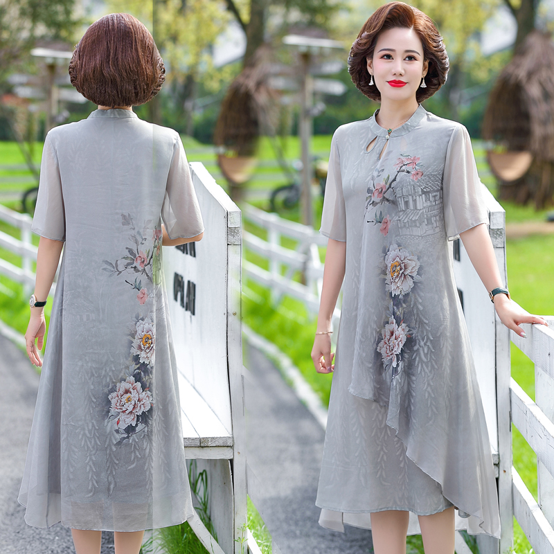 Mothers Day gift dress summer skirt 45 year old womens dress suitable for mother summer 40-50