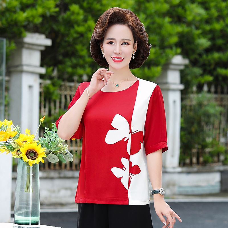 Mothers Day NV middle aged and old womens wear short sleeve casual suit for mothers in their 40s, 50s and 60s in summer