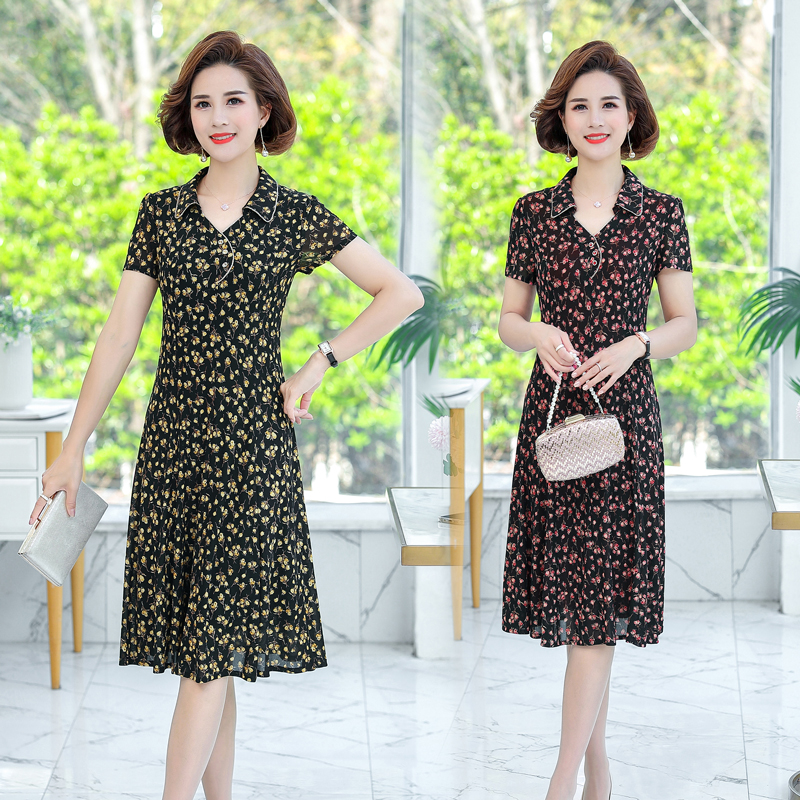 Summer womens clothes 35 middle-aged and old womens clothes 40 groups 45-55-50 years old mothers dress mother 60