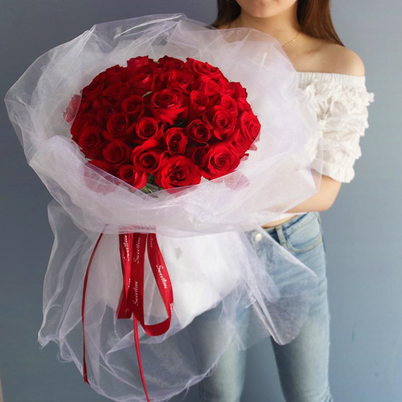 红玫瑰花束礼盒深圳南山西丽蛇口蛋糕鲜花速递同城花店520情人节