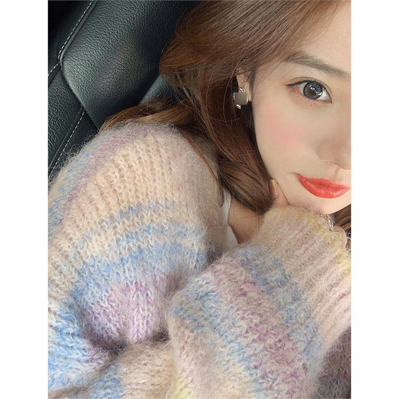 Winter loose edition Student warm cotton candy sweater fashion pink Cute short stripe thickening 2019 cardigan