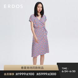 【桑蚕丝】ERDOS 21春夏新品V领印花腰部系带真丝女连衣裙