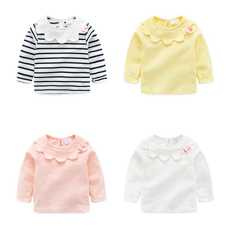 婴儿春季娃娃领长袖纯棉女宝宝t恤