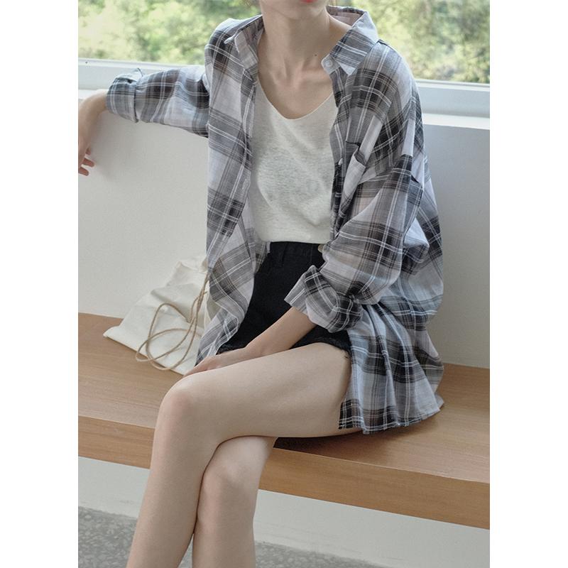 红人馆格子衬衫女夏2018新款韩版学生宽松bf衬衣长袖防晒衣上衣薄