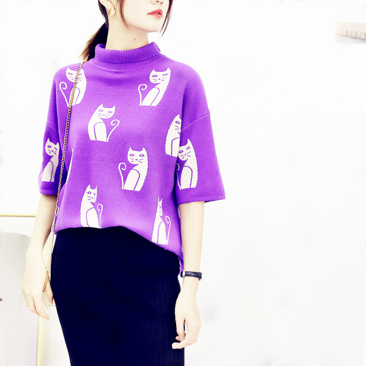 Panda family ~ foreign trade original single cat pattern design in spring and autumn is fashionable, fan half high neck five sleeve sweater