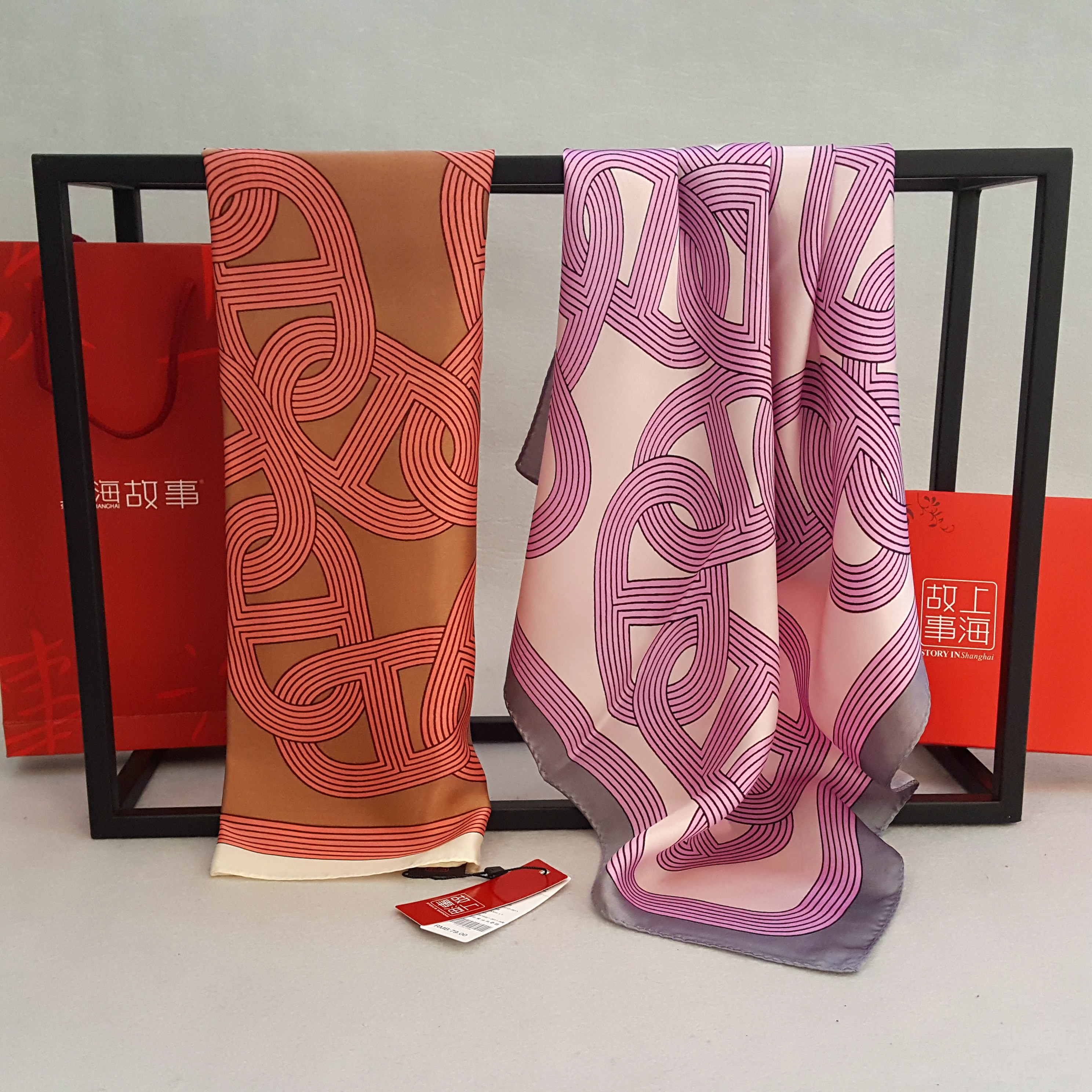 Two parcels of Shanghai stories silk real silk scarves small square scarves womens spring and autumn professional real silk scarves ring buckle
