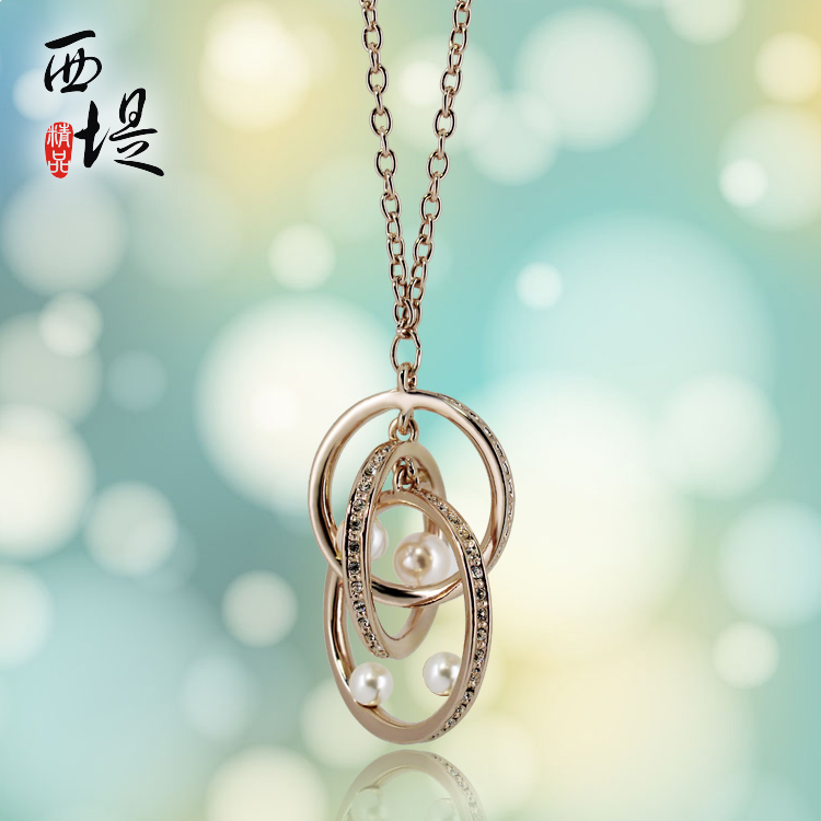 Rose Gold geometric three-dimensional split ring buckle mobile personalized womens necklace pearl pendant boutique