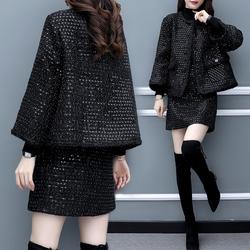 2020新款女装小香风秋冬毛呢亮片两件套裙外套短裙休闲时尚套装女