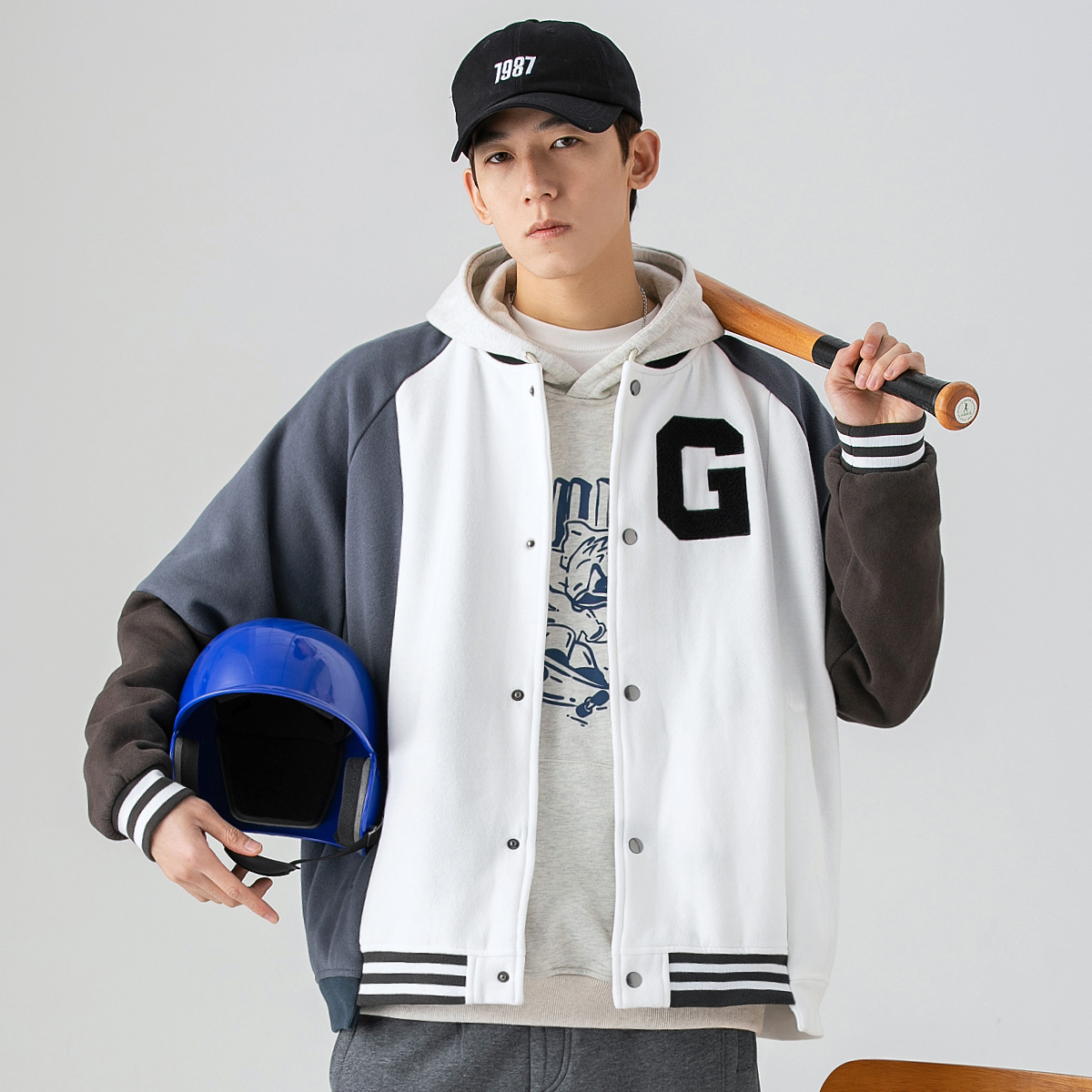 GBOY spring and autumn baseball uniform men's tide brand loose casual wild letter embroidery color matching stitching trendy jacket jacket