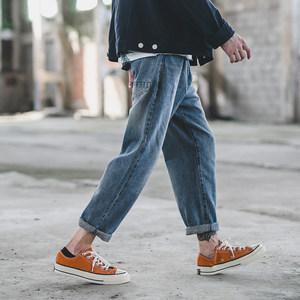 夏季日系休闲男潮牌修身小脚牛仔裤