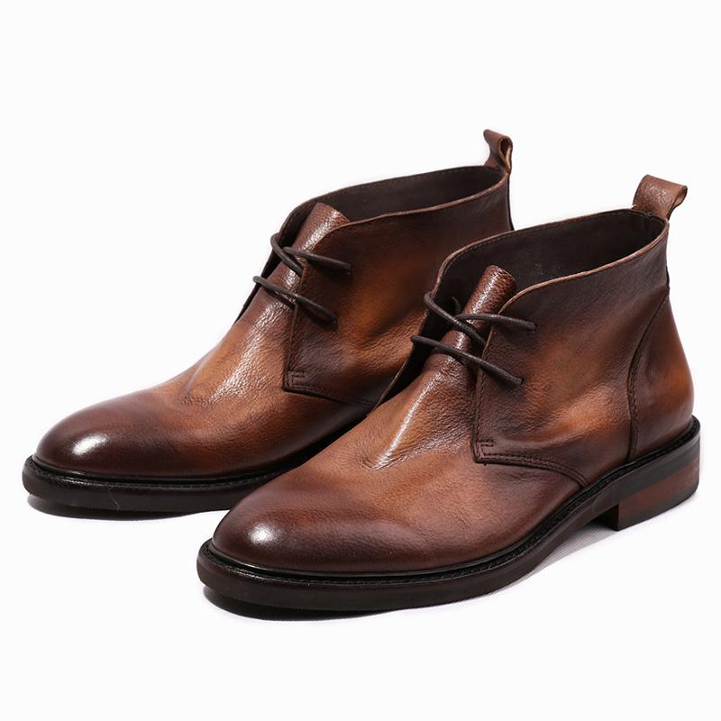 优100男鞋欧美复古做旧水洗擦色潮鞋 休闲高帮皮鞋男士皮靴沙漠靴