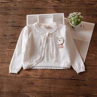 女童披肩镂空针织衫 婴幼儿童夏季 薄毛衣宝宝百搭开衫 春秋款 防晒衫