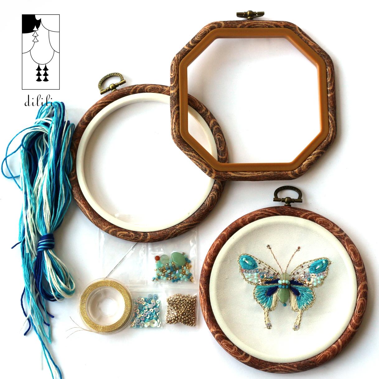 Стебель Lili оригинал домой декоративный DIY украшенный бусами синяя бабочка вышитый настенный стена украшения вышитый протяжение вышитый материалы