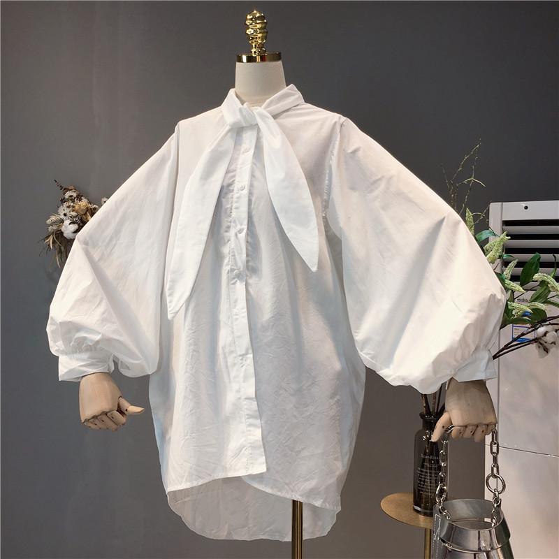 特2018秋装新款韩版女装宽松大码中长款学生复古打底长袖衬衫衬衣