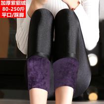 400克加厚加绒打底裤女大码200斤外穿保暖棉裤高腰显瘦冬季光泽裤