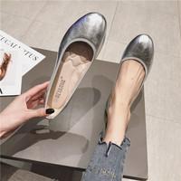 2020春季銀色平底鞋女淺口牛筋軟底軟面時尚女鞋平跟圓頭單鞋船鞋