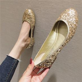 浅口圆头亮片平底单鞋女鞋金色大码伴娘船鞋演出瓢鞋表演出走秀鞋