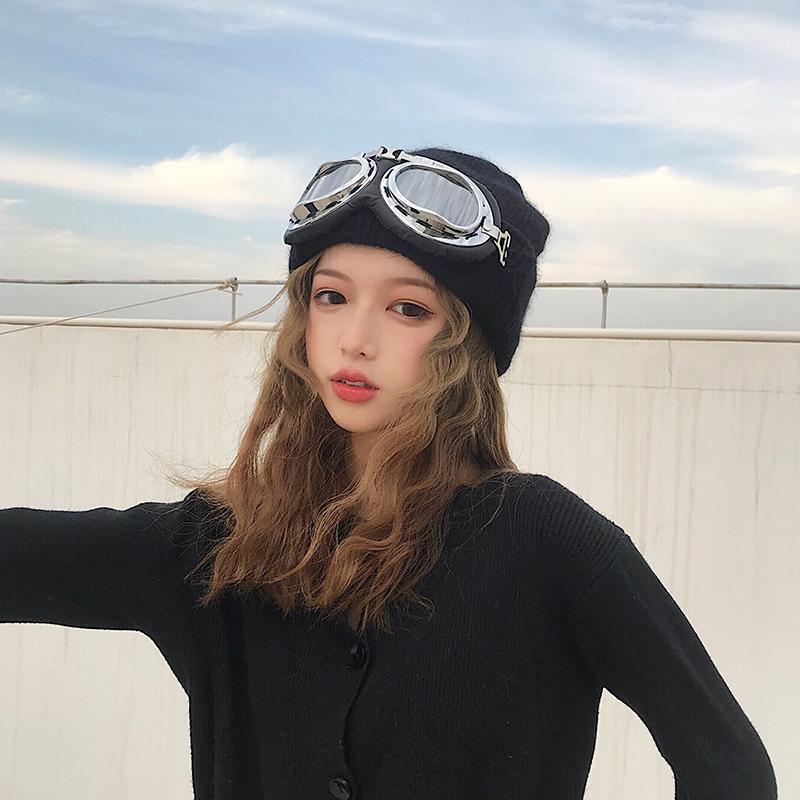券后37.00元冬帽女飞行员眼镜滑雪帽保暖针织套头帽休闲韩版兔毛加厚毛线帽潮
