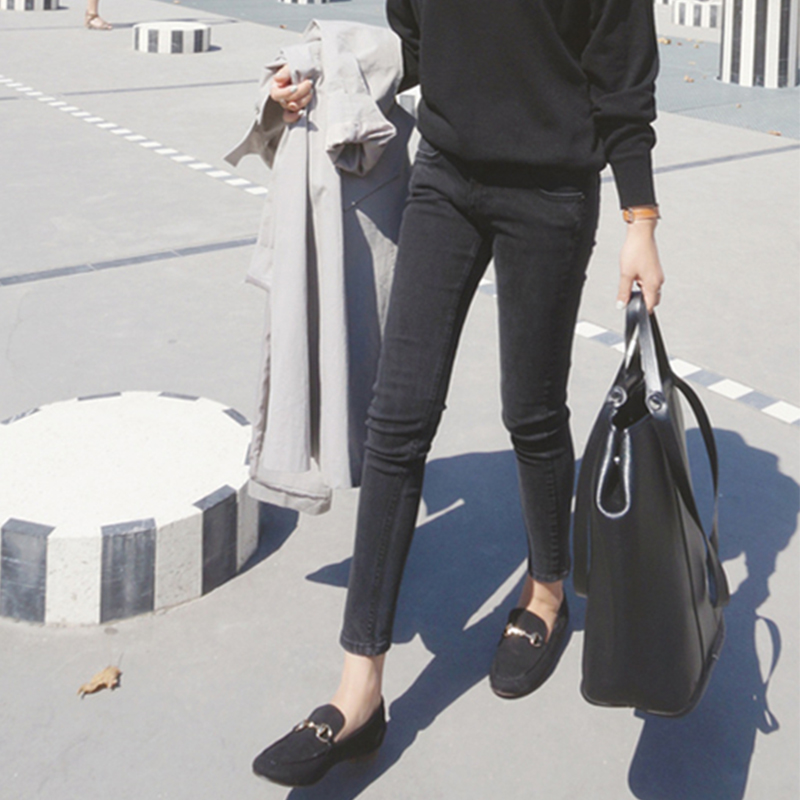 2021 high waist tight Plush thickened smoky grey jeans womens thin black cotton elastic pencil Leggings