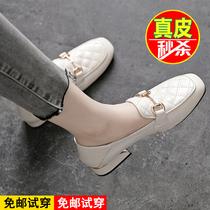 W3Q01AA1春尖头乐福鞋女一脚蹬平跟休闲百搭单鞋新款2021他她Tata