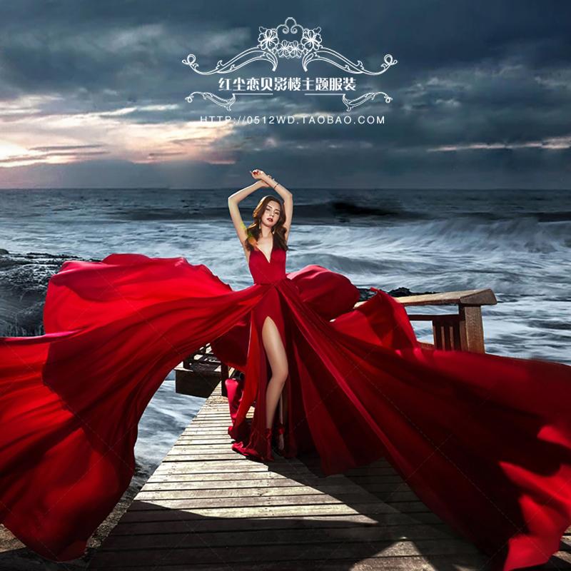 影楼主题服装红色大飘拖尾拍照婚纱海边外景摄影情侣写真旅拍礼服11-30新券