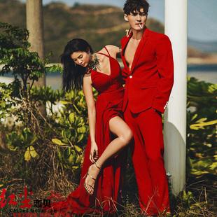 影樓主題服裝時尚旅拍街拍情侶輕紗婚紗紅色禮服吊帶拖尾露背禮服