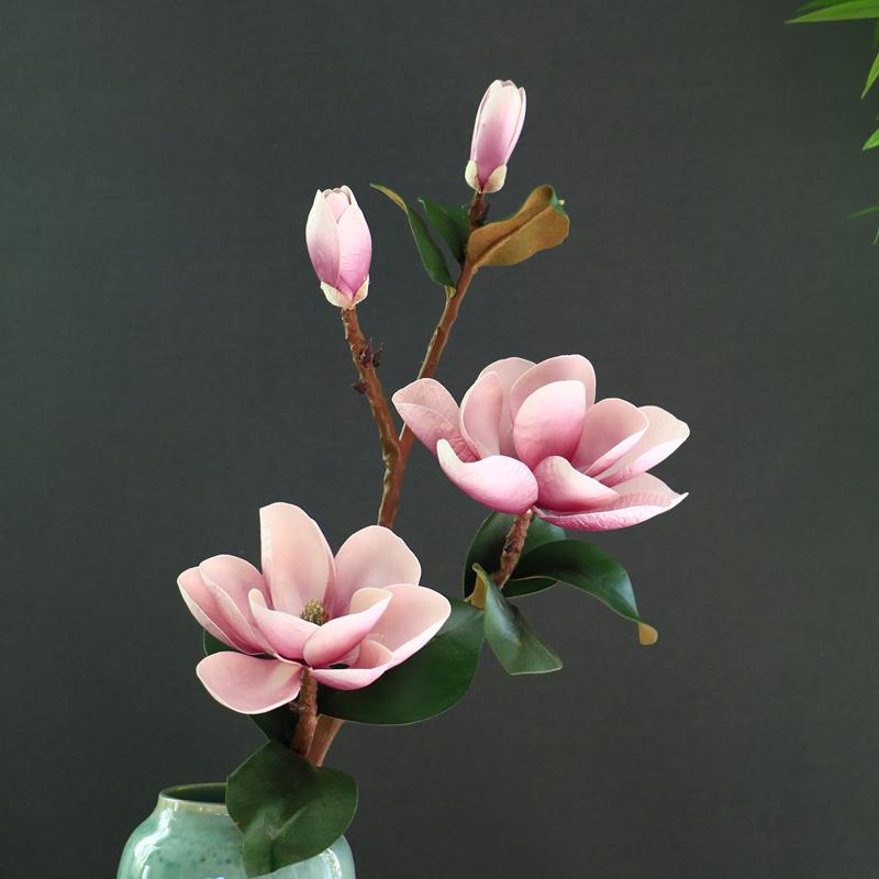 仿真玉兰花手感木棉花干花装饰白色蓝色粉色客厅落地大花高花长支