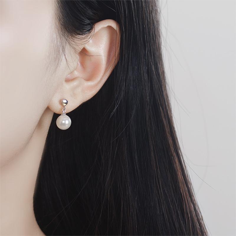 925纯银耳钉女款简约甜美贝珍珠耳环坠日韩版创意饰品百搭防过敏