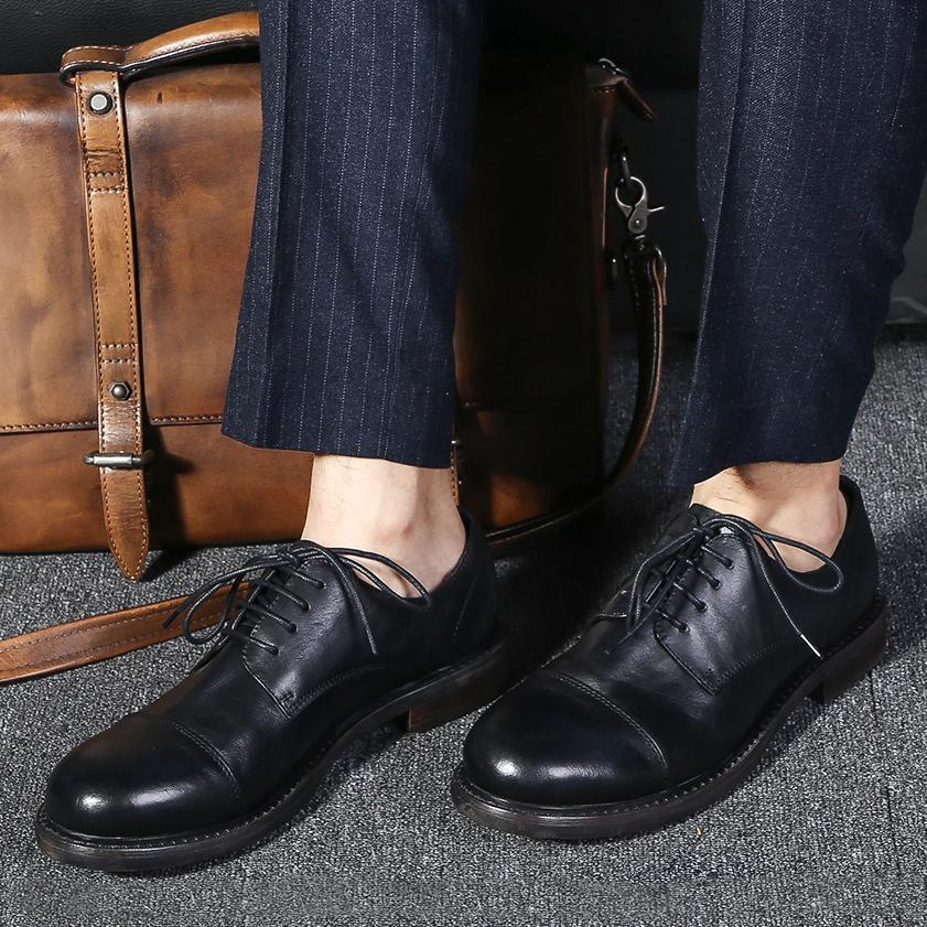 中国风男鞋大头皮鞋商务皮鞋德比鞋牛皮婚礼鞋复古翘头褶皱大码鞋