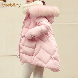 a word down jacket Girls Korean long section of loose large size 2017 real fur collar white duck down winter coat female Harajuku