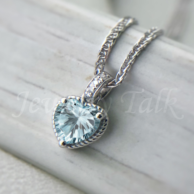 Heart shaped carved Aquamarine Necklace pt950 Platinum Diamond Pendant Heart of the sea custom jewelry female gift