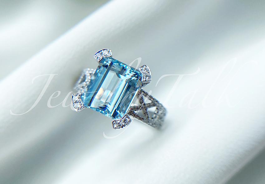 Jewelrytalk 3 carat Aquamarine Ring, bare stone 18K Gold Diamond, high end customized jewelry design
