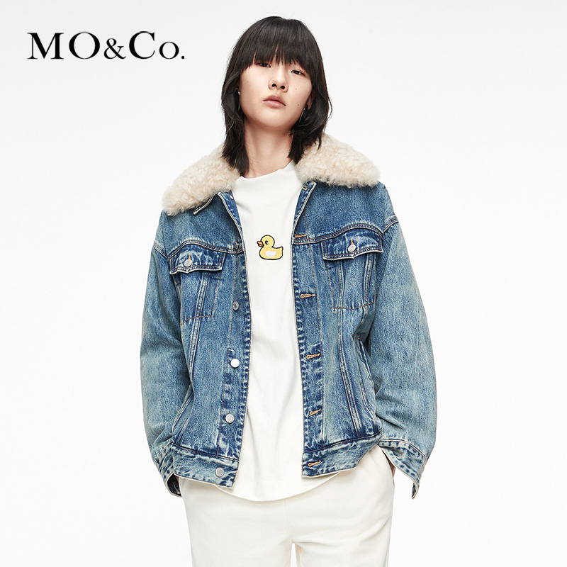 MOCO2020 winter new boyfriend style big fur collar denim cotton jacket MBO4JKT001 摩安柯