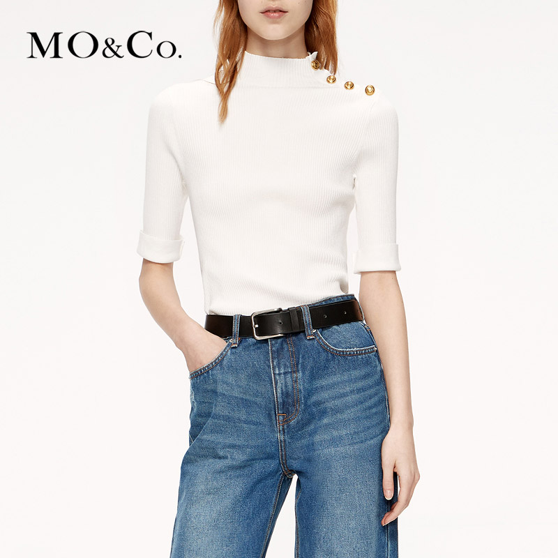MOCO2019 Autumn New Small High-collar Shoulder Metal Button Knitted Shirt MAI3SWT016 Moanke