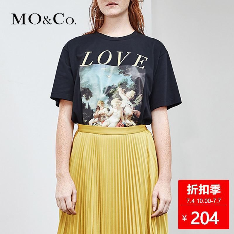 MOCO夏季新品套头圆领字母标语图案印花T恤 摩安珂