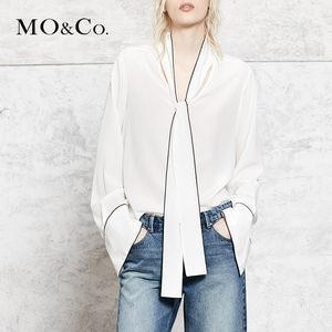 MOCO复古纯色领带装饰撞色灯笼袖长袖衬衫MA173TOP122 摩安珂