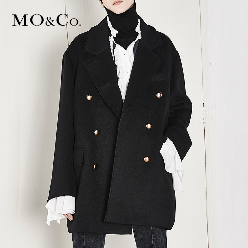 Moco double breasted thick woolen overcoat women's Retro little fragrant coat ma174cot111