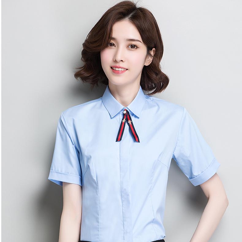 竹の繊維の純色のシャツの女性の半袖の職業のシャツは身を修めます。