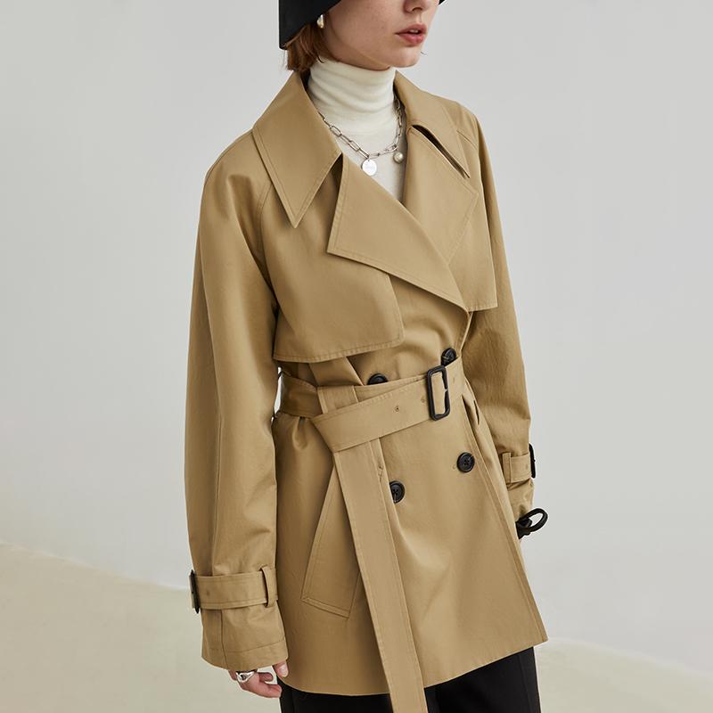 范洛2020冬季天然原胚棉卡其色气质大翻领袖口拼接双排扣风衣外套