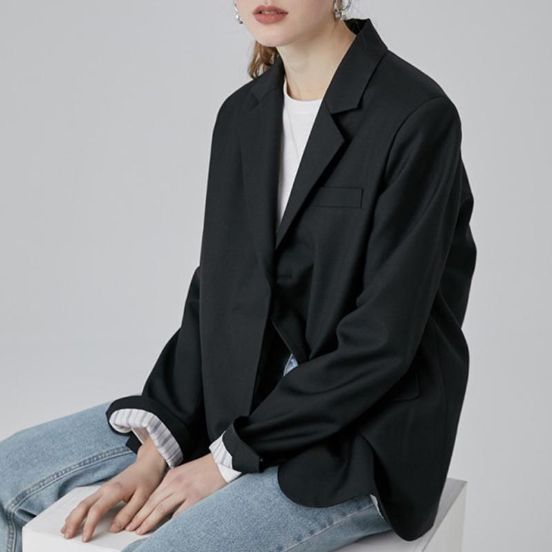 范洛2021秋季新款黑色韩版宽松休闲设计感小众西服女小西装外套女