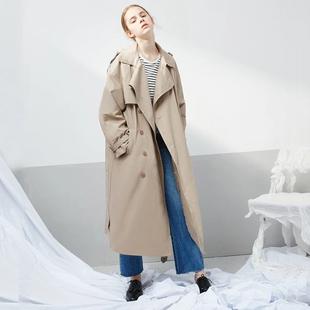范洛2020秋季 大衣 新款 宽松气质百搭卡其色风衣外套女过膝中长款