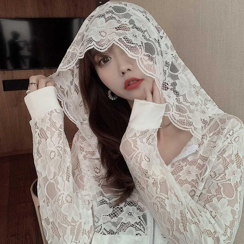 Spring 2020 new fashion sun proof clothes hooded short coat thin lace top with early autumn womens light cardigan